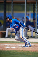Toronto Blue Jays Devon Travis (29) follows through on a swing during a minor league Spring Training game against the New York Yankees on March 30, 2017 at the Englebert Complex in Dunedin, Florida.  (Mike Janes/Four Seam Images)