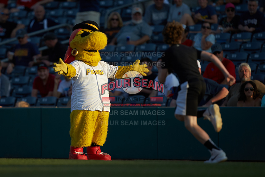 West Virginia Power mascot Chuck waits at the finish line of the dizzy bat race between innings of the game against the Lexington Legends at Appalachian Power Park on June 7, 2018 in Charleston, West Virginia. The Power defeated the Legends 5-1. (Brian Westerholt/Four Seam Images)