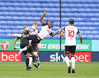 Bolton Wanderers' Peter Kioso battles with Oldham Athletic's Danny Rowe<br /> <br /> Photographer Stephen White/CameraSport<br /> <br /> The EFL Sky Bet League Two - Bolton Wanderers v Oldham Athletic - Saturday 17th October 2020 - University of Bolton Stadium - Bolton<br /> <br /> World Copyright © 2020 CameraSport. All rights reserved. 43 Linden Ave. Countesthorpe. Leicester. England. LE8 5PG - Tel: +44 (0) 116 277 4147 - admin@camerasport.com - www.camerasport.com