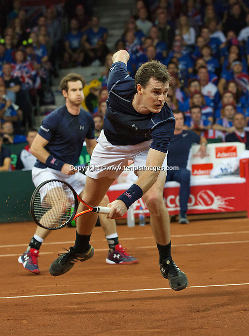 Gent, Belgium, November 28, 2015, Davis Cup Final, Belgium-Great Britain, day two, doubles match, Andy Murray(L)/Jamie Murray (GBR) <br /> Photo: Tennisimages/Henk Koster