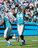The Carolina Panthers defeated the Atlanta Falcons 34-10 in an inter-division rivalry played in Charlotte, NC at Bank of America Stadium.  Carolina Panthers running back DeAngelo Williams (34)