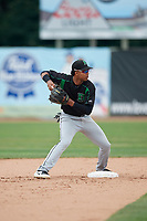 Dayton Dragons second baseman Jose Garcia (15) turns a double play during a game against the Beloit Snappers on July 22, 2018 at Pohlman Field in Beloit, Wisconsin.  Dayton defeated Beloit 2-1.  (Mike Janes/Four Seam Images)