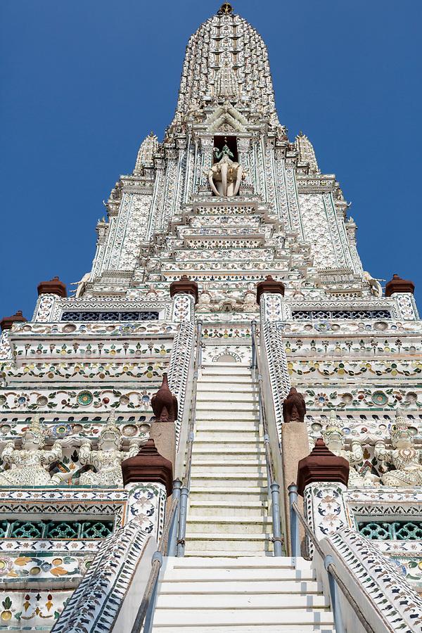 Bangkok, Thailand.  Wat Arun Looking Upwards toward Indra Riding on his Three-headed Elephant Erawan.