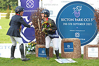 5th September 2021; Bicton Park, East Budleigh Salterton, Budleigh Salterton, United Kingdom: Bicton CCI 5* Equestrian Event; Pippa Funnell shares a joke with the winner Gemma Tattersall