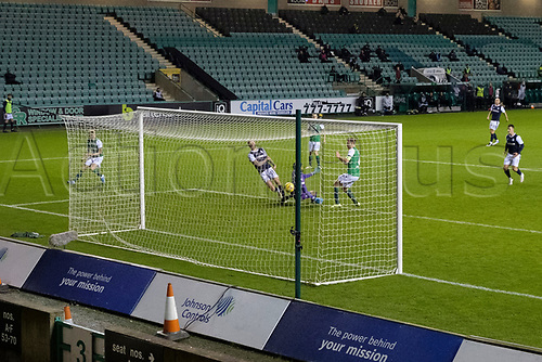 15th November 2020; Easter Road, Edinburgh, Scotland; Scottish League Cup Football, Hibernian versus Dundee FC; Christie Elliott of Dundee scores the equaliser to level the score at 1-1 in the 70th minute