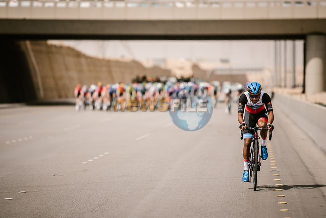 Maral-Erdene Batmunkh (MGL) Terengganu Inc.Tsg Cycling Team tries to breakaway during Stage 3 of the Saudi Tour 2020 running 119km from King Saud University to Al Bujairi, Saudi Arabia. 6th February 2020. <br /> Picture: ASO/Pauline Ballet   Cyclefile<br /> All photos usage must carry mandatory copyright credit (© Cyclefile   ASO/Pauline Ballet)