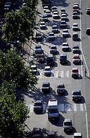City traffic on the Avenue de la Grande Armée as seen from the Arch de Triomphe, Paris, France.