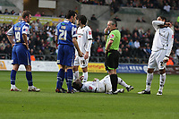 Pictured: Jason Scotland of Swansea injured on the ground surrounded by S W Mathieson referee and other players.<br /> Re: Coca Cola Championship, Swansea City FC v Doncaster Rovers at the Liberty Stadium. Swansea, south Wales, Saturday 21 February 2009<br /> Picture by D Legakis Photography / Athena Picture Agency, Swansea 07815441513