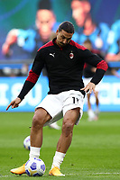 Calcio, Serie A: Inter Milano - AC Milan , Giuseppe Meazza (San Siro) stadium, in Milan, October 17, 2020.<br /> Milan's Zlatan Ibrahimovic in action during the warm up prior to the Italian Serie A football match between Inter and Milan at Giuseppe Meazza (San Siro) stadium, October 17,  2020.<br /> UPDATE IMAGES PRESS/Isabella Bonotto