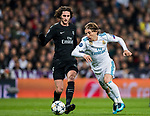 Luka Modric of Real Madrid battles for the ball with Adrien Rabiot of Paris Saint Germain during the UEFA Champions League 2017-18 Round of 16 (1st leg) match between Real Madrid vs Paris Saint Germain at Estadio Santiago Bernabeu on February 14 2018 in Madrid, Spain. Photo by Diego Souto / Power Sport Images