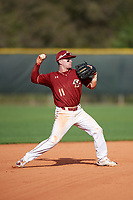 Boston College Eagles shortstop Jake Palomaki (11) throws a runner out at first during a game against the Minnesota Golden Gophers on February 23, 2018 at North Charlotte Regional Park in Port Charlotte, Florida.  Minnesota defeated Boston College 14-1.  (Mike Janes/Four Seam Images)