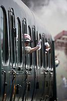 Europe/France/Aquitaine/33/Gironde/Soulac-sur-Mer:Voyageurs du train à vapeur lors de Soulac 1900