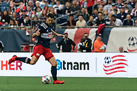 FOXBOROUGH, MA - JULY 25: Matt Polster #8 of New England Revolution passes the ball during a game between CF Montreal and New England Revolution at Gillette Stadium on July 25, 2021 in Foxborough, Massachusetts.