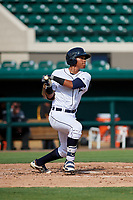 Detroit Tigers Wenceel Perez (80) hits a single during a Florida Instructional League game against the Pittsburgh Pirates on October 6, 2018 at Joker Marchant Stadium in Lakeland, Florida.  (Mike Janes/Four Seam Images)