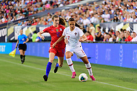 PHILADELPHIA, PA - AUGUST 29: Tierna Davidson #12 of the United States defends Vanessa Marques #17 of Portugal during a game between Portugal and USWNT at Lincoln Financial Field on August 29, 2019 in Philadelphia, PA.