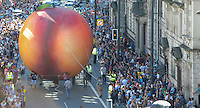 Pictured: Saturday 17 September 2016<br /> Re: Roald Dahl's City of the Unexpected has transformed Cardiff City Centre into a landmark celebration of Wales' foremost storyteller, Roald Dahl, in the year which celebrates his centenary.<br /> The Giant Peach heads down Westgate Street towards Cardiff Castle.
