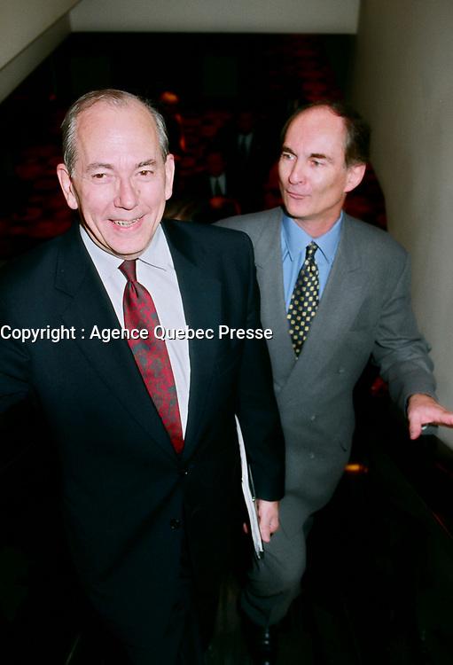 June 1999 FILE Photo, Montreal, Canada: Michel Camdessus (L)l Gil Remillard (R)