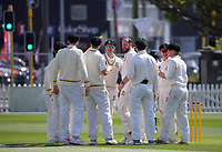 Iain McPeake celebrates a wicket during day one of the Plunket Shield match between the Wellington Firebirds and Auckland Aces at the Basin Reserve in Wellington, New Zealand on Saturday, 14 November 2020. Photo: Dave Lintott / lintottphoto.co.nz