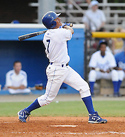 July 22, 2009: Infielder Yowill Espinal (7) of the Burlington Royals, rookie Appalachian League affiliate of the Kansas City Royals, in a game at Burlington Athletic Stadium in Burlington, N.C. Photo by: Tom Priddy/Four Seam Images