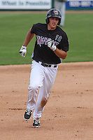 Wisconsin Timber Rattlers third baseman Dustin DeMuth (12) heads toward third base during a Midwest League game against the Kane County Cougars on May 16th, 2015 at Fox Cities Stadium in Appleton, Wisconsin.  Kane County defeated Wisconsin 4-2.  (Brad Krause/Four Seam Images)