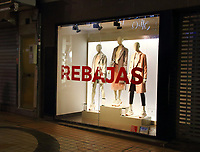 With windows still dressed for Christmas, most shops in Spain begin their New years sales traditionally on January 7th - the day after 'Three Kings Day'. These stores in the Costa Del Sol's all year round holiday resort of Torremolinos follow the regular Andalucian trend. 6th January 2020<br /> <br /> Photo by Keith Mayhew