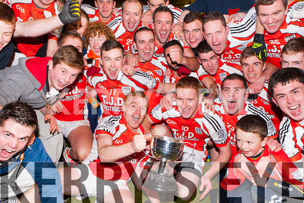 Brosna team celebrate after they won the Munster Junior final against Glin in Mallow on Sunday