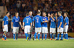 St Johnstone v FC Luzern...24.07.14  Europa League 2nd Round Qualifier<br /> Dave Mackay is congratulated by his team mates after scoring his penalty<br /> Picture by Graeme Hart.<br /> Copyright Perthshire Picture Agency<br /> Tel: 01738 623350  Mobile: 07990 594431