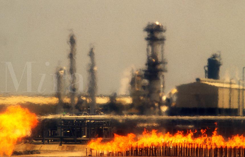 Natural gas liquefication  plant, LNG.  Heat haze rising from burning waste gas.  Bontang, Kalimantan, Borneo.