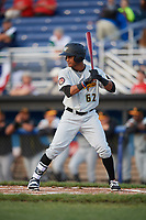 West Virginia Black Bears center fielder Michael De La Cruz (62) at bat during a game against the Batavia Muckdogs on June 24, 2017 at Dwyer Stadium in Batavia, New York.  The game was suspended in the bottom of the third inning and completed on June 25th with West Virginia defeating Batavia 6-4.  (Mike Janes/Four Seam Images)