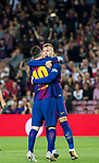 Gerard Deulofeu Lazaro of FC Barcelona celebrates with teammate Lionel Andres Messi during the La Liga 2017-18 match between FC Barcelona and Malaga CF at Camp Nou on 21 October 2017 in Barcelona, Spain. Photo by Vicens Gimenez / Power Sport Images