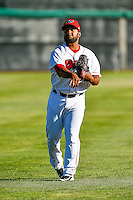 Orem Owlz starting pitcher Ramon Rodriguez (47) warms up in the outfield before the game against the Ogden Raptors in Pioneer League action at Home of the Owlz on June 25, 2016 in Orem, Utah. Orem defeated Ogden 4-1.  (Stephen Smith/Four Seam Images)