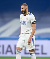 25th September 2021; Estadio Santiagp Bernabeu, Madrid, Spain; Men's La Liga, Real Madrid CF versus Villarreal CF; Karim Benzema appears upset as he cannot score tonight