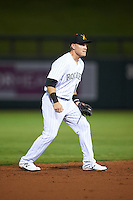 Salt River Rafters Pat Valaika (18), of the Colorado Rockies organization, during a game against the Peoria Javelinas on October 11, 2016 at Salt River Fields at Talking Stick in Scottsdale, Arizona.  The game ended in a 7-7 tie after eleven innings.  (Mike Janes/Four Seam Images)