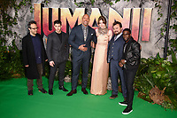 "director, Jake Kasdan, Nick Jonas, Dwayne Johnson, Karen Gillan, Jack Black and Kevin Hart<br /> arriving for the ""Jumanji: Welcome to the Jungle"" premiere at the Vue West End, Leicester Square, London<br /> <br /> <br /> ©Ash Knotek  D3358  07/12/2017"