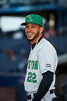 Clinton LumberKings Luis Liberato (22) before a game against the West Michigan Whitecaps on May 3, 2017 at Fifth Third Ballpark in Comstock Park, Michigan.  West Michigan defeated Clinton 3-2.  (Mike Janes/Four Seam Images)