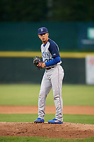 Brooklyn Cyclones starting pitcher Jose Butto (30) gets ready to deliver a pitch during a game against the Tri-City ValleyCats on August 21, 2018 at Joseph L. Bruno Stadium in Troy, New York.  Tri-City defeated Brooklyn 5-2.  (Mike Janes/Four Seam Images)