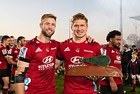 Braydon Ennor and Jack Goodhue with the trophy after winning the 2020 Super Rugby match between the Crusaders and Highlanders at Orangetheory Stadium in Christchurch, New Zealand on Saturday, 9 August 2020. Photo: Joe Johnson / lintottphoto.co.nz