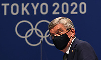 210721 -- TOKYO, July 21, 2021 -- International Olympic Committee IOC President Thomas Bach attends a press conference, PK, Pressekonferenz at the Main Press Center MPC of Tokyo 2020 in Tokyo, Japan, July 21, 2021.  TOKYO2020JAPAN-TOKYO-OLYMPICS-MPC-PRESS CONFERENCE JiaxHaocheng PUBLICATIONxNOTxINxCHN<br /> Photo Imago / Insidefoto ITALY ONLY