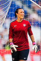 United States (USA) goalkeeper Jill Loyden (21) during warmups prior to playing the Korea Republic (KOR). The women's national team of the United States defeated the Korea Republic 5-0 during an international friendly at Red Bull Arena in Harrison, NJ, on June 20, 2013.