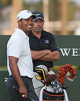 PONTE VEDRA BEACH, FL - MAY 6: Tiger Woods and caddie Steve Williams on the 10th tee at the start of Tiger's practice round on Wednesday, May 6, 2009 for the Players Championship, beginning on Thursday, at TPC Sawgrass in Ponte Vedra Beach, Florida.