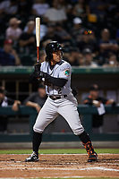 Jahmai Jones (2) of the Norfolk Tides at bat against the Charlotte Knights at Truist Field on August 19, 2021 in Charlotte, North Carolina. (Brian Westerholt/Four Seam Images)
