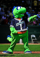"""15 July 2010: Vermont Lake Monsters' mascot """"Champ"""" entertains the fans at a game against the Aberdeen IronBirds at Centennial Field in Burlington, Vermont. The Lake Monsters rallied in the bottom of the 9th inning to defeat the IronBirds 7-6 notching their league leading 20th win of the 2010 NY Penn League season. Mandatory Credit: Ed Wolfstein Photo"""