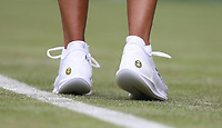 The trainers of Naomi Osaka (JPN) during her match against Yulia Putintseva (KAZ) in their Ladies' Singles First Round match<br /> <br /> Photographer Rob Newell/CameraSport<br /> <br /> Wimbledon Lawn Tennis Championships - Day 1 - Monday 1st July 2019 -  All England Lawn Tennis and Croquet Club - Wimbledon - London - England<br /> <br /> World Copyright © 2019 CameraSport. All rights reserved. 43 Linden Ave. Countesthorpe. Leicester. England. LE8 5PG - Tel: +44 (0) 116 277 4147 - admin@camerasport.com - www.camerasport.com