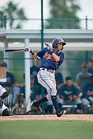 GCL Braves shortstop Livan Soto (13) grounds out during a game against the GCL Pirates on July 26, 2017 at Pirate City in Bradenton, Florida.  GCL Braves defeated the GCL Pirates 12-5.  (Mike Janes/Four Seam Images)