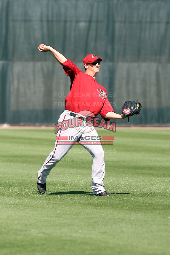 Ty Linton #33 of the Arizona Diamondbacks works out at the Diamondbacks spring training complex at Salt River Fields on March 13, 2011 in Scottsdale, Arizona. .Photo by:  Bill Mitchell/Four Seam Images.
