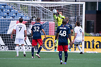 FOXBOROUGH, MA - JULY 4: Earl Edwards Jr. #90 of the New England Revolution II with a save off a corner during a game between Greenville Triumph SC and New England Revolution II at Gillette Stadium on July 4, 2021 in Foxborough, Massachusetts.