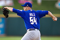 Las Vegas 51s pitcher Shawn Hill #54 delivers during the Pacific Coast League baseball game against the Round Rock Express on August 7th, 2012 at the Dell Diamond in Round Rock, Texas. The Express defeated the 51s 5-4. (Andrew Woolley/Four Seam Images).