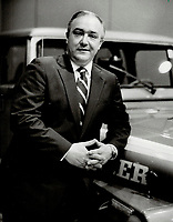 Keeping options open: Leaning on a jeep his company built, William Carroll, president of American Motors (Canada) Inc., says all the reports about a huge Quebec automotive operation by AMC mystify him. But he's open to any offers.<br /> <br /> <br /> 1986<br /> <br /> PHOTO : Boris Spremo - Toronto Star Archives - AQP
