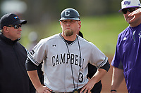 Campbell Camels head coach Justin Haire (3) prior to the game against the High Point Panthers at Williard Stadium on March 16, 2019 in  Winston-Salem, North Carolina. The Camels defeated the Panthers 13-8. (Brian Westerholt/Four Seam Images)
