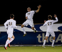 Andrew O'Malley (12) of Notre Dame celebrates his goal during the ACC tournament semifinals at the Maryland SoccerPlex in Boyds, MD.  Virginia advanced to the finals after tying Notre Dame, 3-3, in overtime and then defeating them on penalty kicks.